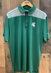 Columbia Michigan State Spartans Mens Green Utility Short Sleeve Polo