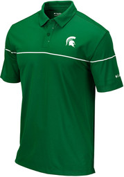 Columbia Michigan State Spartans Mens Green Breaker Short Sleeve Polo