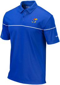 Columbia Kansas Jayhawks Blue Breaker Short Sleeve Polo Shirt