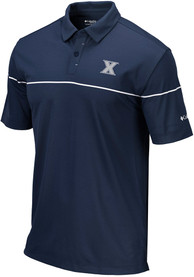 Columbia Xavier Musketeers Navy Blue Breaker Short Sleeve Polo Shirt