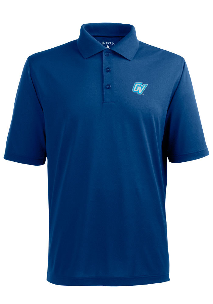 Antigua Grand Valley State Lakers Mens Blue Pique Extra Lite Short Sleeve Polo - Image 1