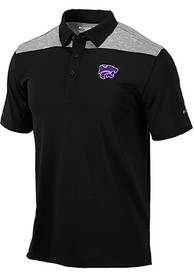 Columbia K-State Wildcats Black Utility Short Sleeve Polo Shirt