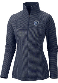 Columbia Sporting Kansas City Womens First Layer Navy Blue 1/4 Zip Pullover