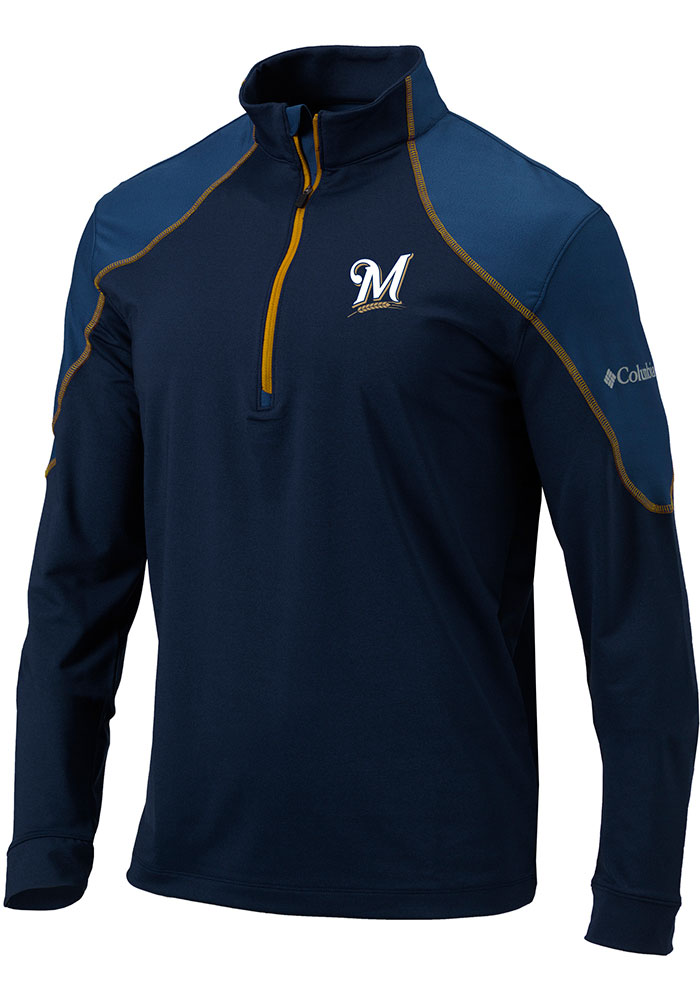 Columbia Milwaukee Brewers Mens Navy Blue Panel Long Sleeve 1/4 Zip Pullover - Image 1