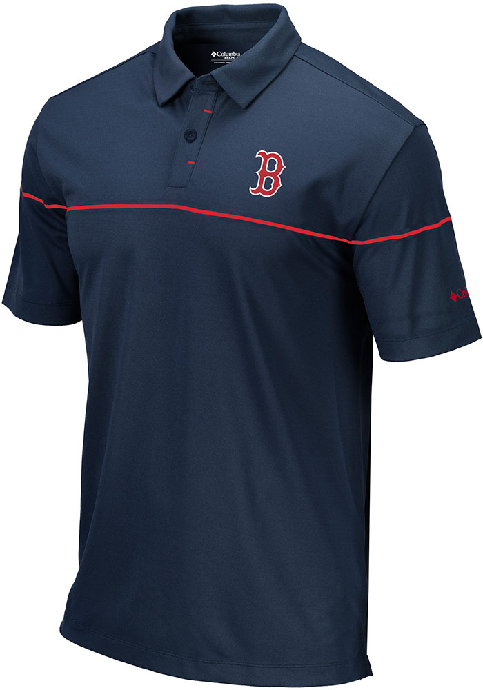 Columbia Boston Red Sox Mens Navy Blue Breaker Short Sleeve Polo - Image 1