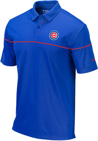 Columbia Chicago Cubs Blue Breaker Short Sleeve Polo Shirt
