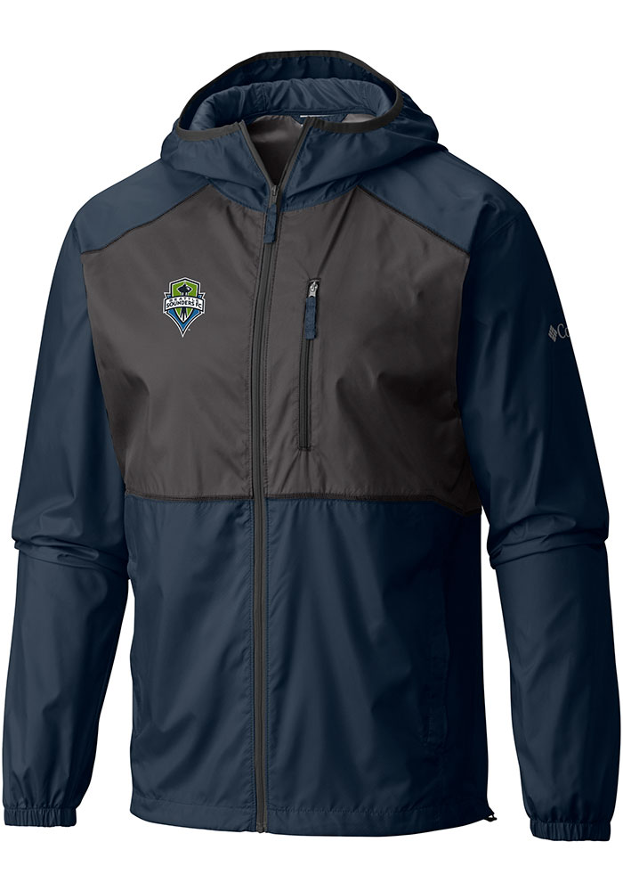 Columbia Seattle Sounders FC Mens Navy Blue Flash Forward Windbreaker Light Weight Jacket - Image 1