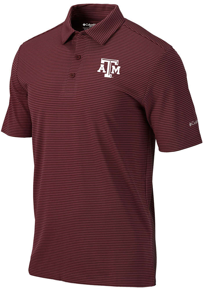 Columbia Texas A&M Aggies Mens Maroon One Swing Short Sleeve Polo - Image 1