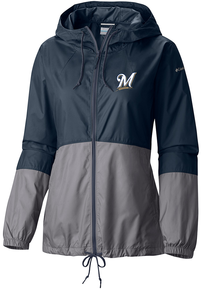 Columbia Milwaukee Brewers Womens Navy Blue Flash Forward Windbreaker Light Weight Jacket - Image 1