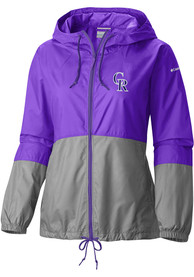 Colorado Rockies Womens Columbia Flash Forward Windbreaker Light Weight Jacket - Purple