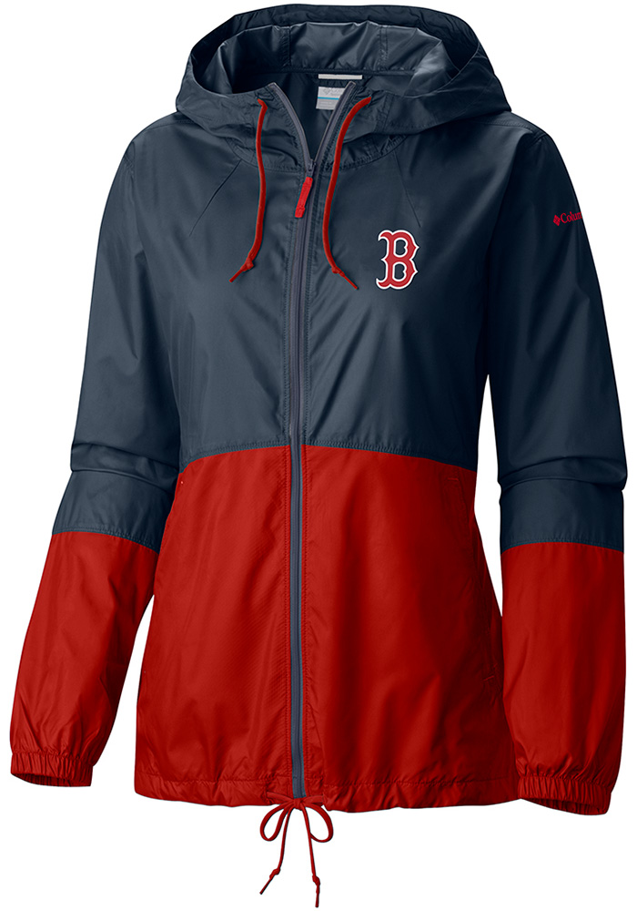 Columbia Boston Red Sox Womens Navy Blue Flash Forward Windbreaker Light Weight Jacket - Image 1