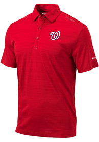 Columbia Washington Nationals Red Printed Dot Short Sleeve Polo Shirt