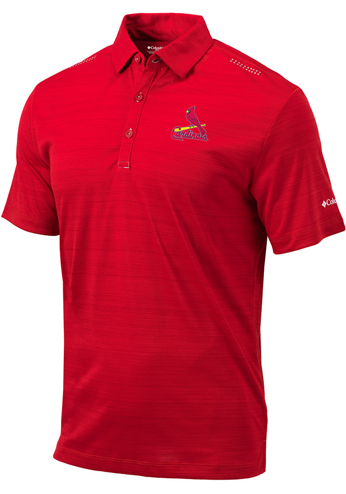 Columbia St Louis Cardinals Mens Red Printed Dot Short Sleeve Polo - Image 1