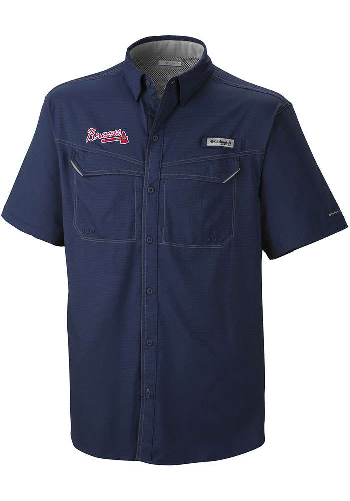 Columbia Atlanta Braves Mens Navy Blue Low Drag Short Sleeve Dress Shirt - Image 1