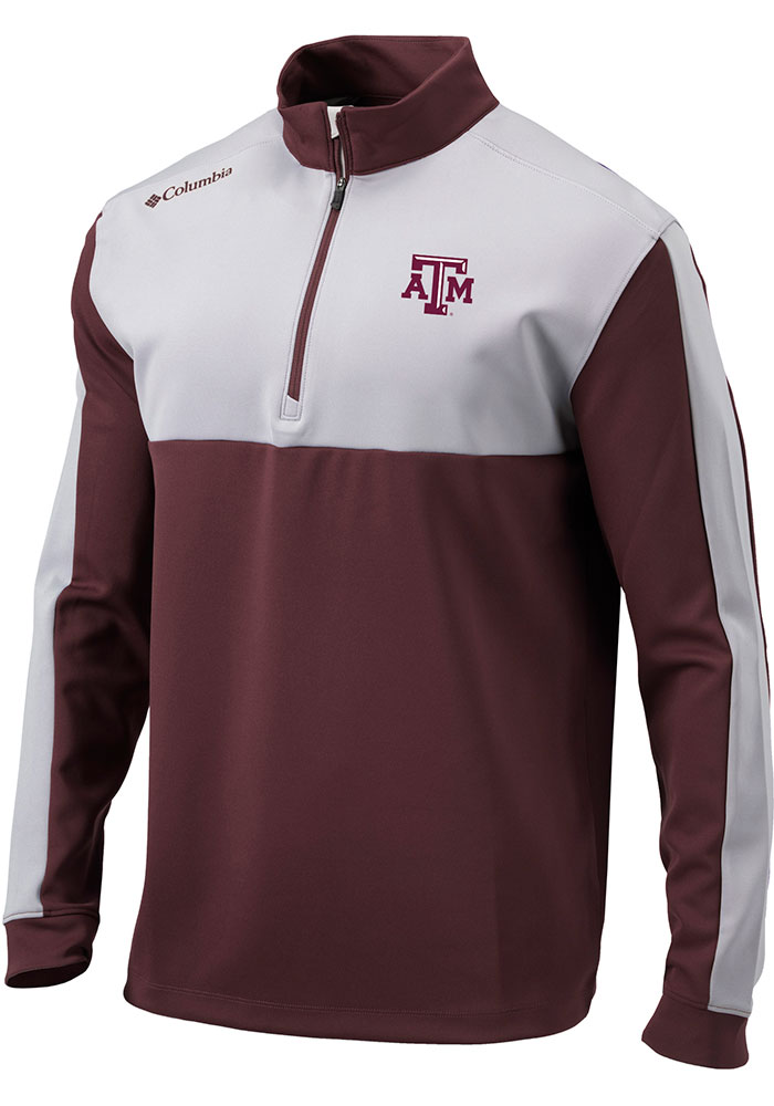 Columbia Texas A&M Aggies Mens Maroon Waggle Long Sleeve 1/4 Zip Pullover - Image 1