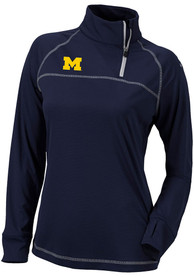 Michigan Wolverines Womens Columbia Classic 1/4 Zip Pullover - Navy Blue