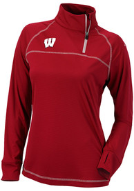 Columbia Wisconsin Badgers Womens Classic Red 1/4 Zip Pullover