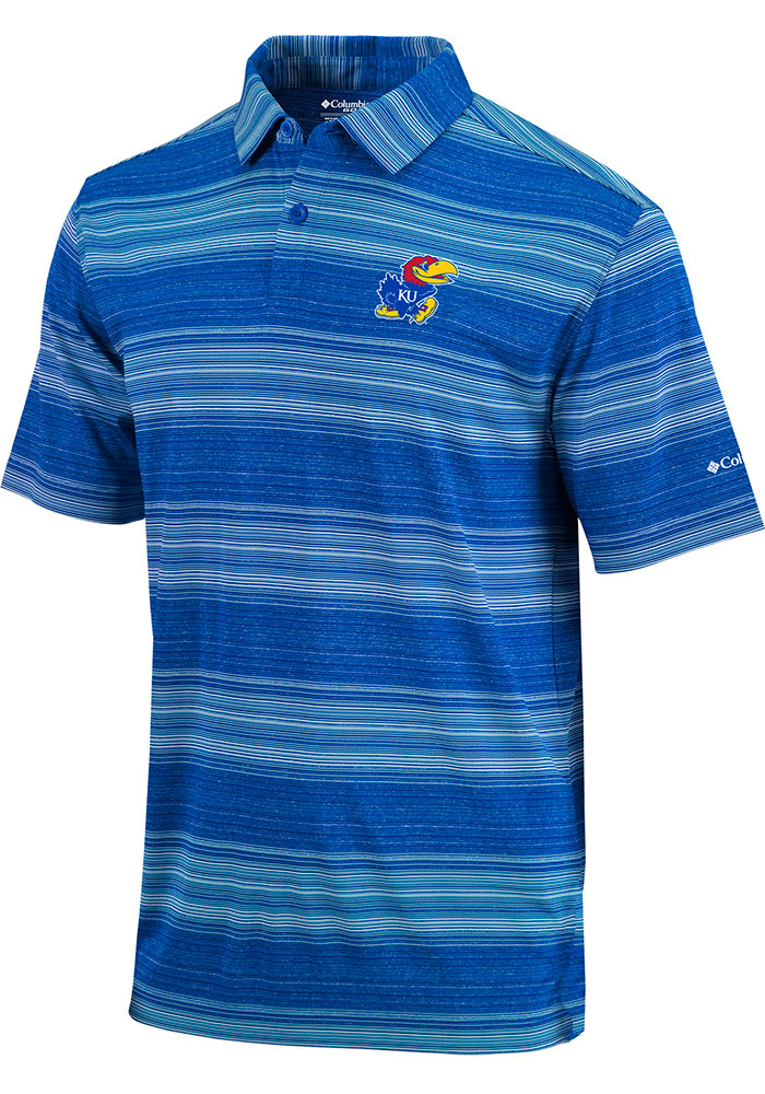 Columbia Kansas Jayhawks Blue Omni-Wick Slide Short Sleeve Polo Shirt