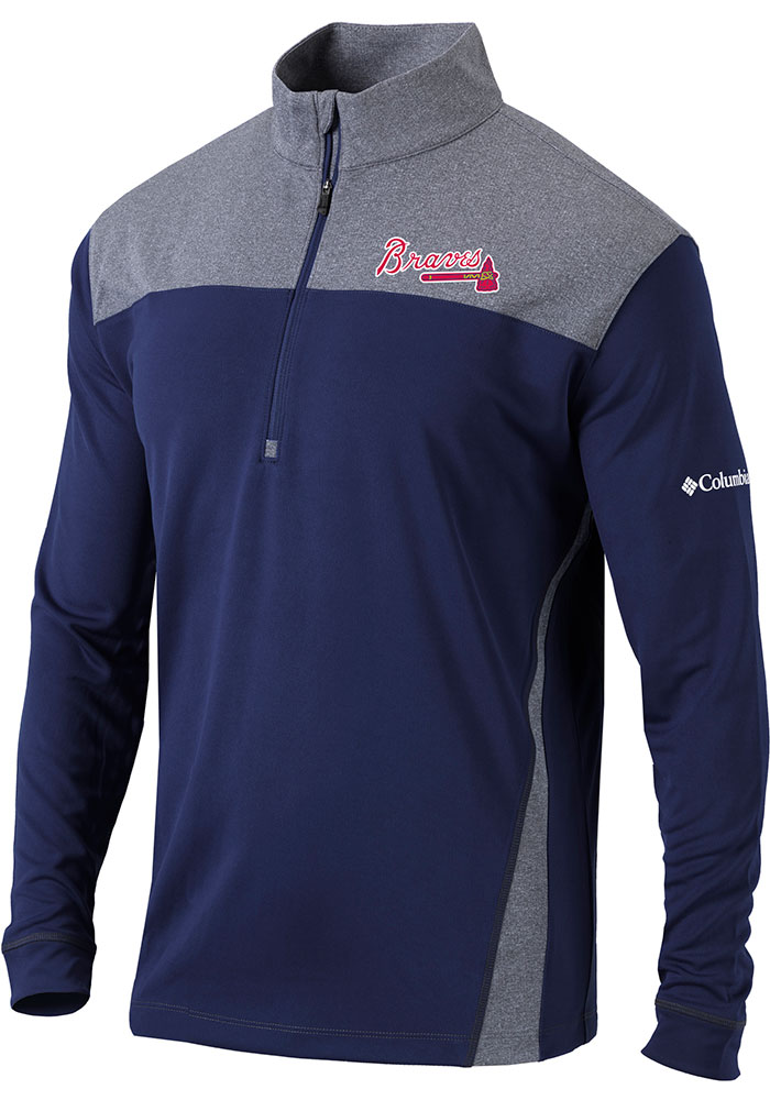 Columbia Atlanta Braves Mens Navy Blue Omni-Wick Standard Long Sleeve 1/4 Zip Pullover - Image 1