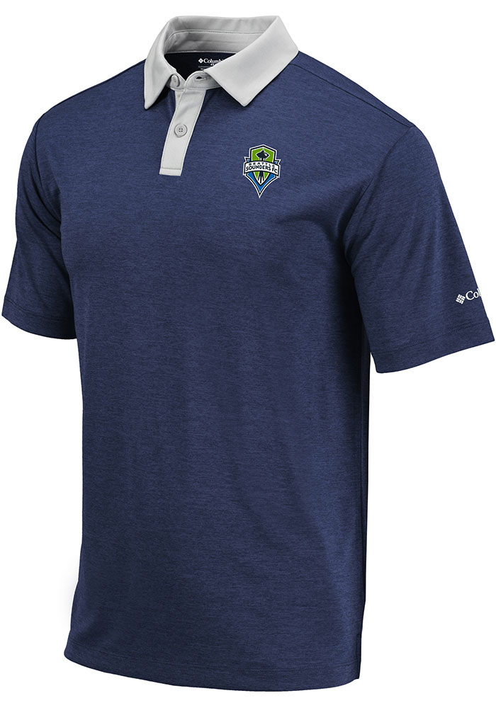 Columbia Seattle Sounders FC Mens Navy Blue Range Short Sleeve Polo - Image 1