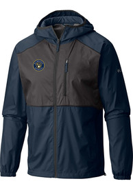 Milwaukee Brewers Columbia Flash Forward Light Weight Jacket - Navy Blue