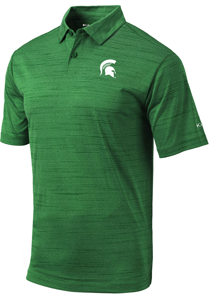 Columbia Michigan State Spartans Mens Green Set Short Sleeve Polo - Image 1