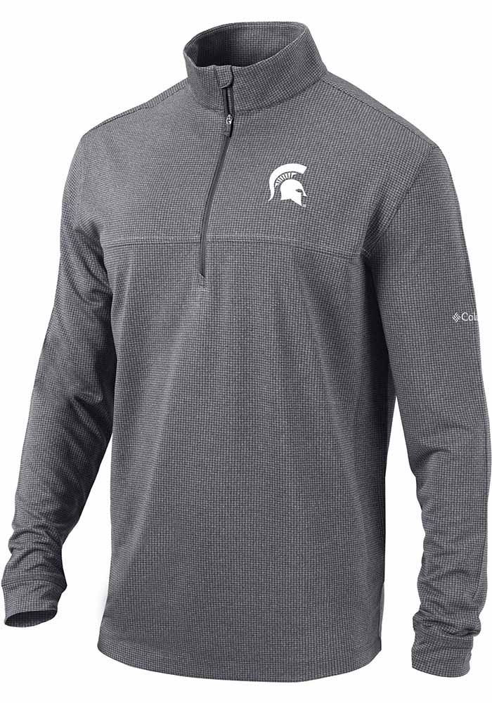 Columbia Michigan State Spartans Mens Grey Soar Long Sleeve 1/4 Zip Pullover - Image 1