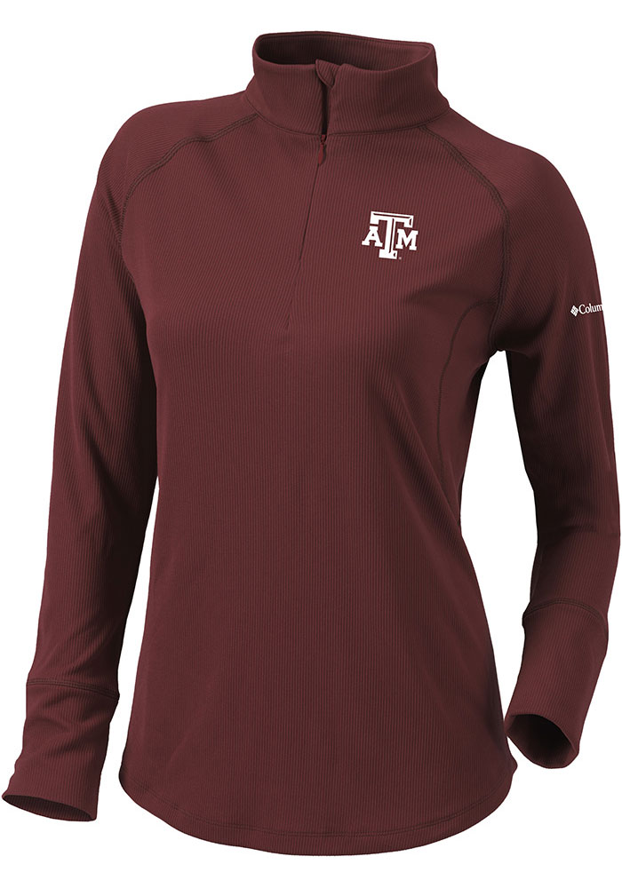 Columbia Texas A&M Womens Maroon Flop Shot 1/4 Zip Pullover - Image 1