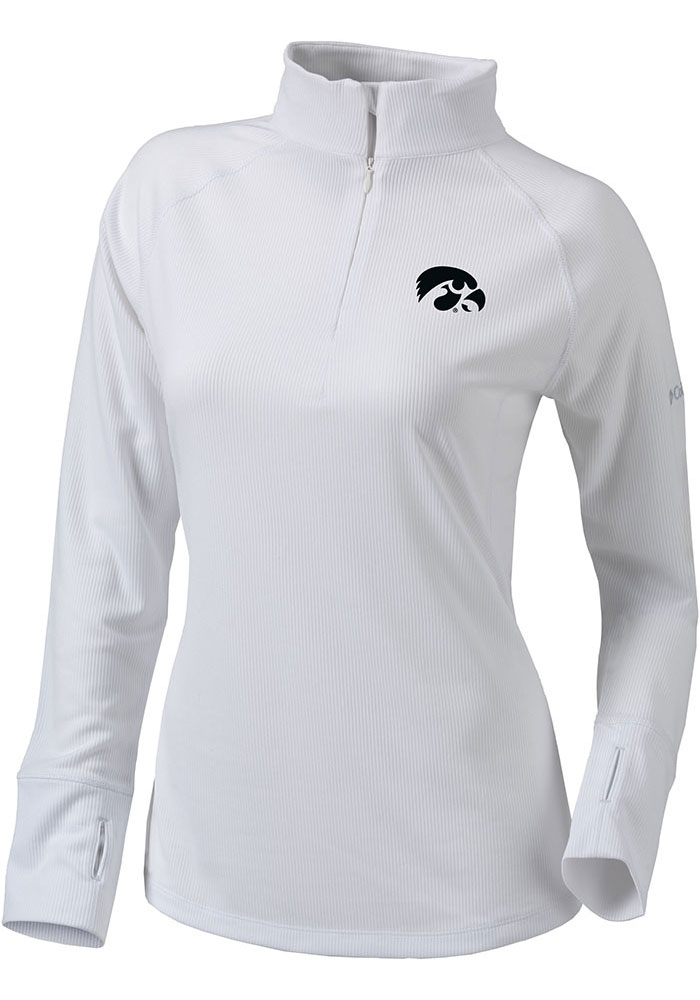 Columbia Hawkeyes Womens White Flop Shot 1/4 Zip Pullover - Image 1