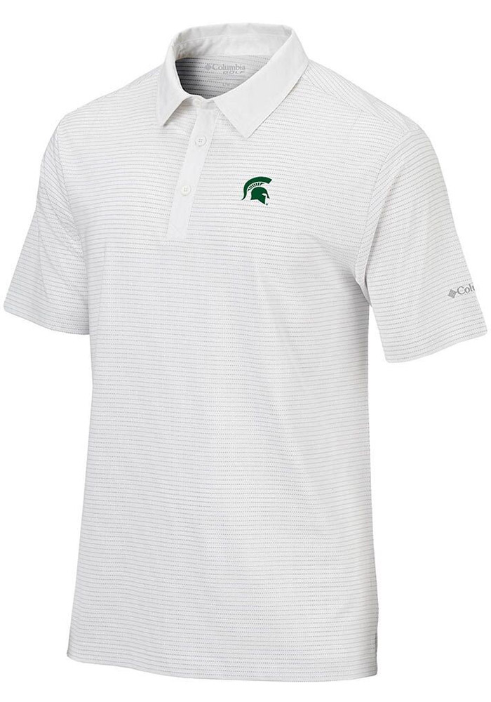 Columbia Michigan State Spartans Mens White Sunday Short Sleeve Polo - Image 1