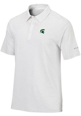 Columbia Michigan State Spartans Mens White Sunday Short Sleeve Polo Shirt