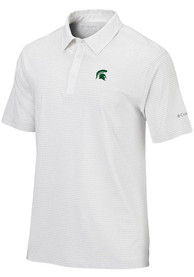 Columbia Michigan State Spartans White Sunday Short Sleeve Polo Shirt