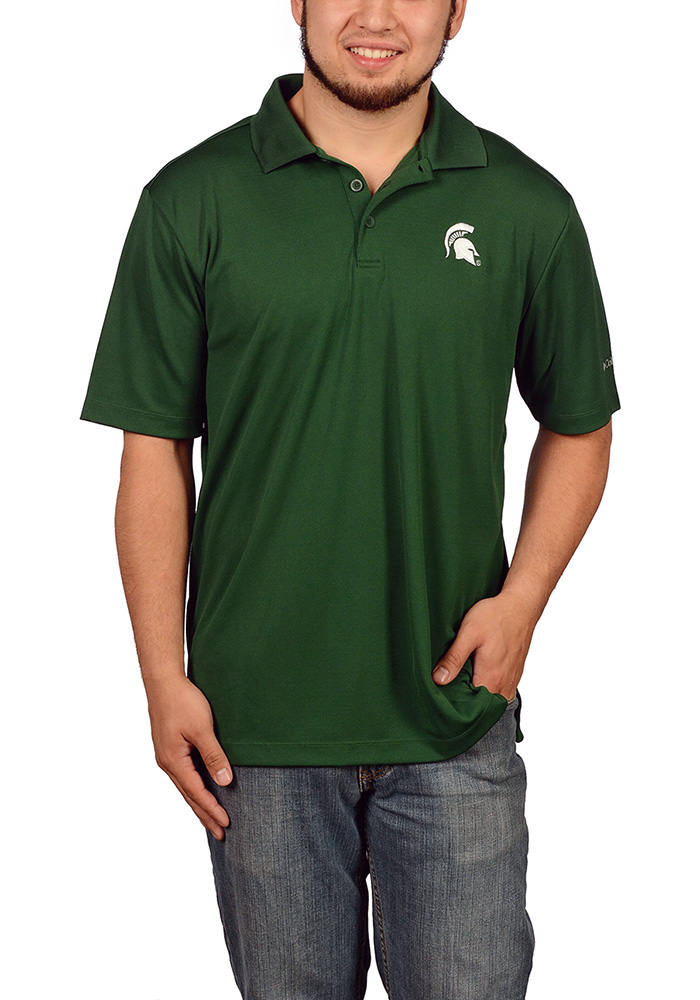 Columbia Michigan State Spartans Mens Green Round One Short Sleeve Polo - Image 1