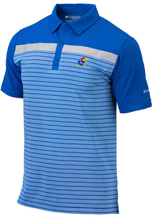 Columbia Kansas Jayhawks Mens Blue Bunker Short Sleeve Polo Shirt