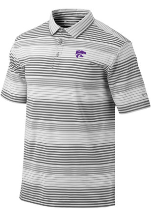 Columbia K-State Wildcats Mens Grey Fairway Short Sleeve Polo Shirt
