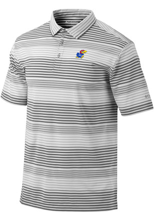Columbia Kansas Jayhawks Mens Grey Fairway Short Sleeve Polo Shirt