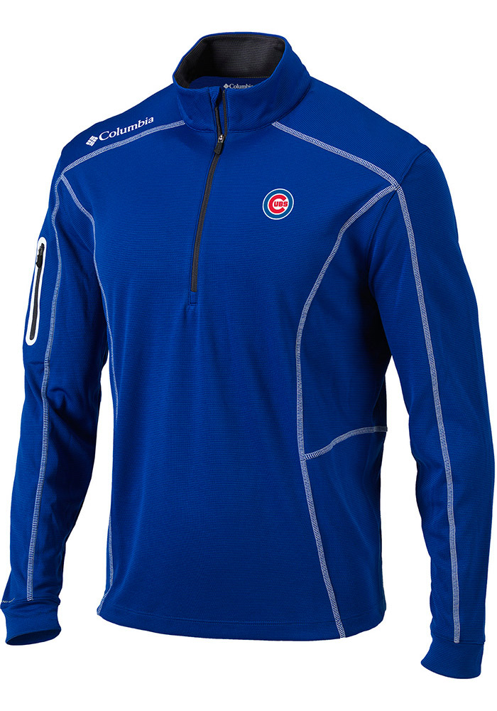 Columbia Chicago Cubs Mens Blue Shotgun Long Sleeve 1/4 Zip Pullover - Image 1