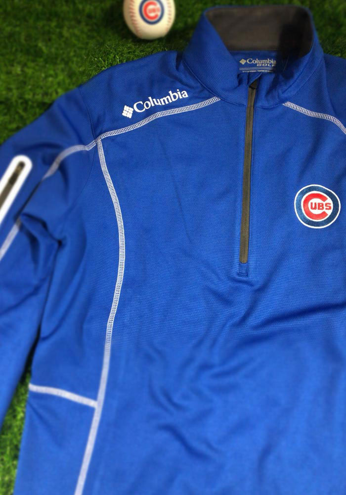 Columbia Chicago Cubs Mens Blue Shotgun Long Sleeve 1/4 Zip Pullover - Image 2