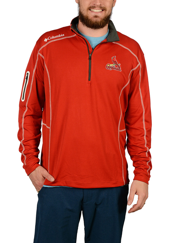 Columbia St Louis Cardinals Mens Red Shotgun Long Sleeve 1/4 Zip Pullover - Image 1