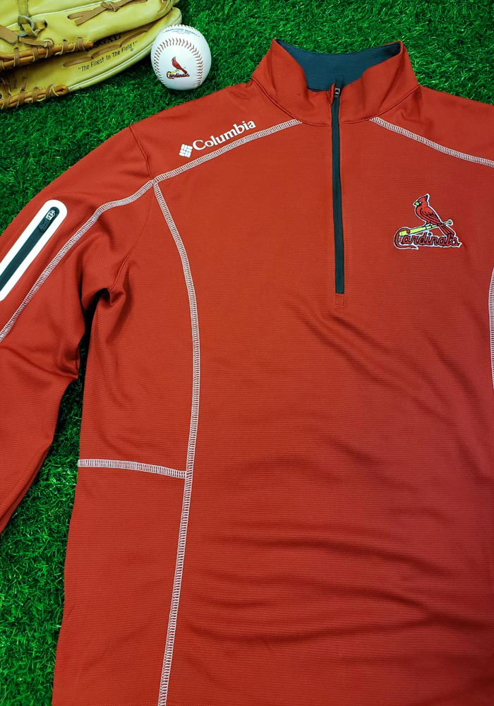 Columbia St Louis Cardinals Mens Red Shotgun Long Sleeve 1/4 Zip Pullover - Image 4