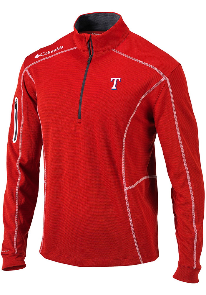 Columbia Texas Rangers Mens Red Shotgun Long Sleeve 1/4 Zip Pullover - Image 1