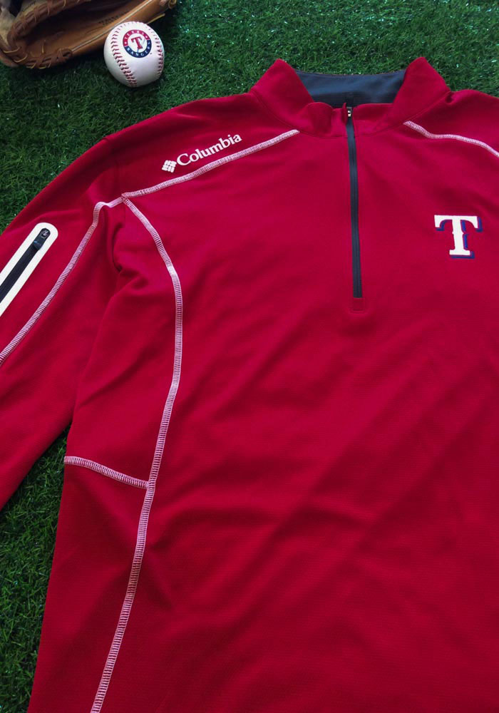 Columbia Texas Rangers Mens Red Shotgun Long Sleeve 1/4 Zip Pullover - Image 2