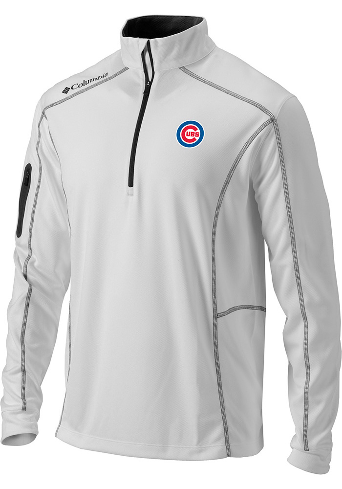 Columbia Chicago Cubs Mens White Shotgun 1/4 Zip Pullover
