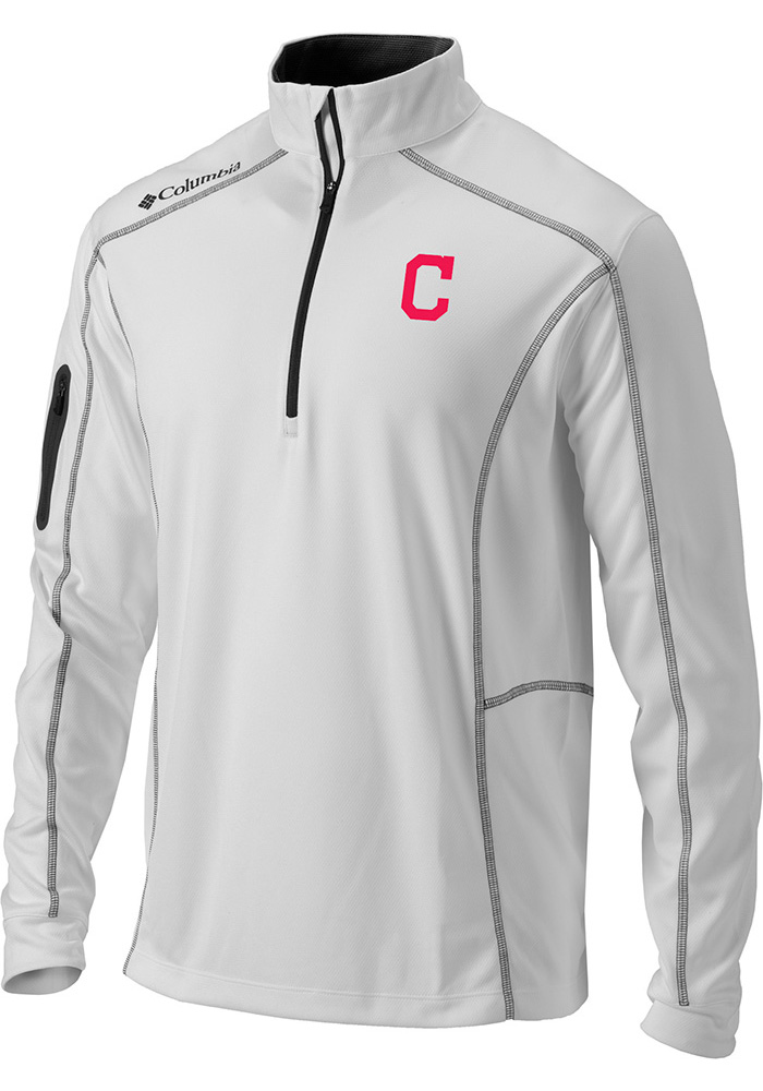 Columbia Cleveland Indians Mens White Shotgun Long Sleeve 1 4 Zip Pullover  - Image 1 7e889f2eb