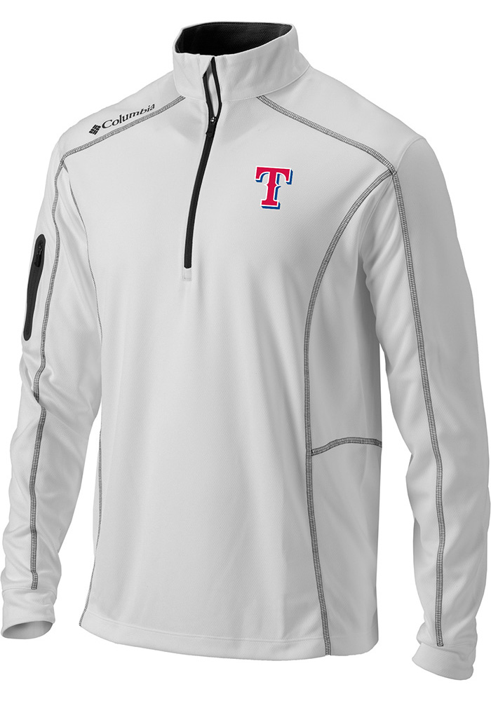 eb06f7438 Columbia Texas Rangers Mens White Shotgun Long Sleeve 1 4 Zip Pullover -  Image 1