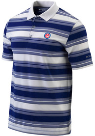 Columbia Chicago Cubs Blue Level Stripe Short Sleeve Polo Shirt