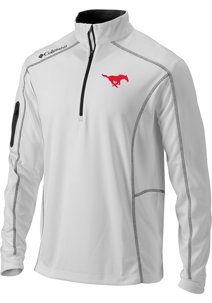 Columbia SMU Mustangs Mens White Shotgun Long Sleeve 1/4 Zip Pullover - Image 1