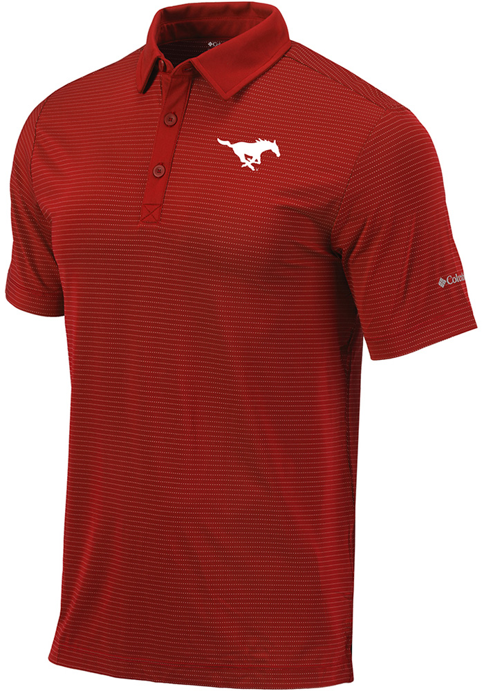 Columbia SMU Mustangs Mens Red Sunday Short Sleeve Polo - Image 1