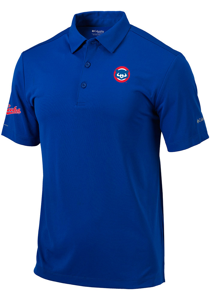 Columbia Chicago Cubs Mens Blue Drive Short Sleeve Polo - Image 1