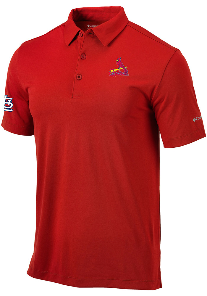 Columbia St Louis Cardinals Mens Red Drive Short Sleeve Polo - Image 1